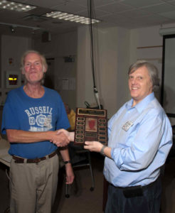 Nick Massey VA7NRM presents the  award to Bob Paxton VE7RPX