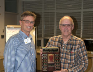 Bernie Leaker VE7BR presents the award to Keith Witney VE7KW
